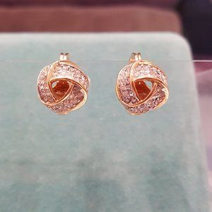 Monet Gold and rhinestone knot earrings